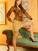 Secretary, Sultry Emma wearing miniskirt and tan stockings