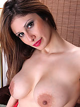Big Nipples, Horny MILF Mazy shows off her mature pink pussy beneath red lace