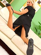 Upskirt, Only Secretaries, Bubbyly blonde in a tight black dress