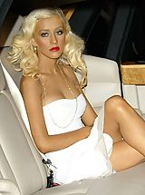 Upskirt, Luscious celeb Cristina Aguilera strips off and exposes her tits