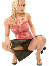 Upskirt, LISEN - Curly blonde hair on this blonde girl with medium breasts and creamy light skin.