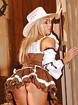 Upskirt, Sexy Blonde Cowgirl Strips & Spreads her Legs
