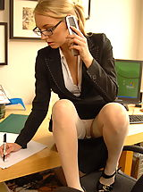 Upskirt, Sexy UK Lady Hayley Marie Coppin, blonde office secretary glasses exposes her tits nude photos