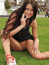 Upskirt, Unclothed Naughty Adulteress beautiful girls snatch in public sensual movies