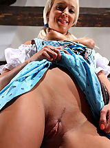 Upskirt, Sexy Natali Blond pulls up her hot dress to show us the goods!