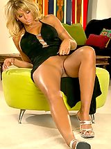 Upskirt, Farrah Fields in Bodybuilding Secretary in Long Black Dress