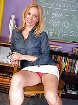 Up Skirt, Horny blonde Katrina plays teacher and spreads her older legs
