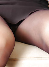 Upskirt, Nasty secretary getting cumshot right into her black sheer-to-waist tights