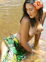 Public Nudity, Asian Women sharon 03 puffy nipples river water