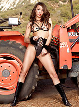 Public Nudity, Bare-skinned Sizzling Slut Charlie Laine in Tractor Training