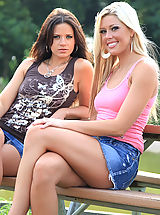 Public Nudity, Tiffany and Ann Angel in the Park Topless