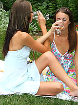 Public Nudity, Sexy Parker Sisters Nude Picnic and Play - 12/3/2013