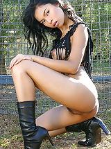 Sexy Legs, Undressed Oriental Female Amara Ranipas A4y 06 Slutty Police Trainer Inserts Riot Stick Into Her Vagina