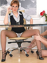 Sexy Legs, Pantyhose and panties office boss