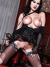 Sexy Legs, Abbie Cat centerfold in lingerie