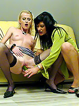 Sexy Legs, Two lesbian babes love playing with a big green cucumber