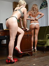 Sexy Legs, Candice Collyer and Natalia Forrest 2 Kinky Scholars in Lingerie Stockings as well as High Heel Pumps