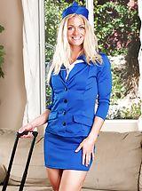 Sexy Legs, Naughty flight attendant Bella Bends hands her twat.