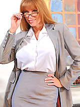 Sexy Legs, Classy secretary takes off her glasses and begins to strip