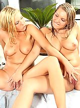 Lesbian Sex, Two busty horny lesbians licking their clit at the pool