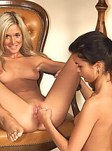 Lesbian Sex, Joyce 04 spreading pussy flaps shaved cunt