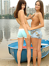 Lesbian Sex, Enjoy watching long-haired teen babes nude show off in front of the camera on the lake.
