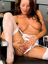 Lingerie, 41 year old hairdresser Marlyn gets turned on and massages her pussy