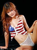 Micro Bikini, Jennifer Lim 08, Stars And Stripes Babe Spreads Her Juicy Labia
