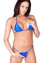 Micro Bikini, Tory Lane strips off a small blue bikini