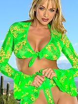 Micro Bikini, Amber Evans in Poolside Blonde in Sexy Swimwear