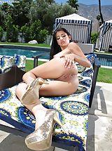 Micro Bikini, Moist Snatch Babe Set 913 Megan Salinas reveals her rosey pussy