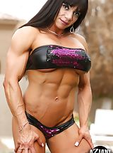 Micro Bikini, Muscle builder Marina Lopez peels off her swimsuit outside and flexes every inch of her ripped up body.