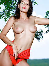 Bikini, Yasmina unclothes her sexy red bikini outdoors as she bares her amazing body.