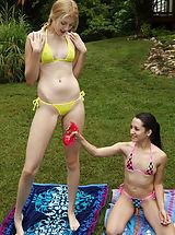 Bikini, Juvenile Horny Amateur Girlfriend with Petite Tits, Errected Nipples and Tiny Shaven Labia