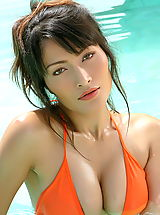 Micro Bikini, Asian Women kaila wang 06 bikini water hard nipples
