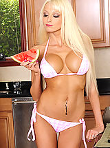 Micro Bikini, Stunning busty blonde Rikki Six chooses to bang her friends boyfriend and ride her shaft.