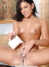 Vintage And Retro, Czech Beauty Rihanna Samuel Drenches Her Crotch With Milk
