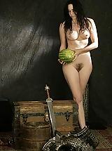 Vintage And Retro, WoW nude shakti butchering watermelon