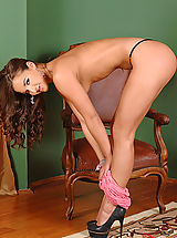High Heels, Tanned elegant brunette Amirah stripping