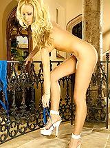 High Heels, Claudia Costa in Secuctive Blonde in Blue See Thru Lingerie